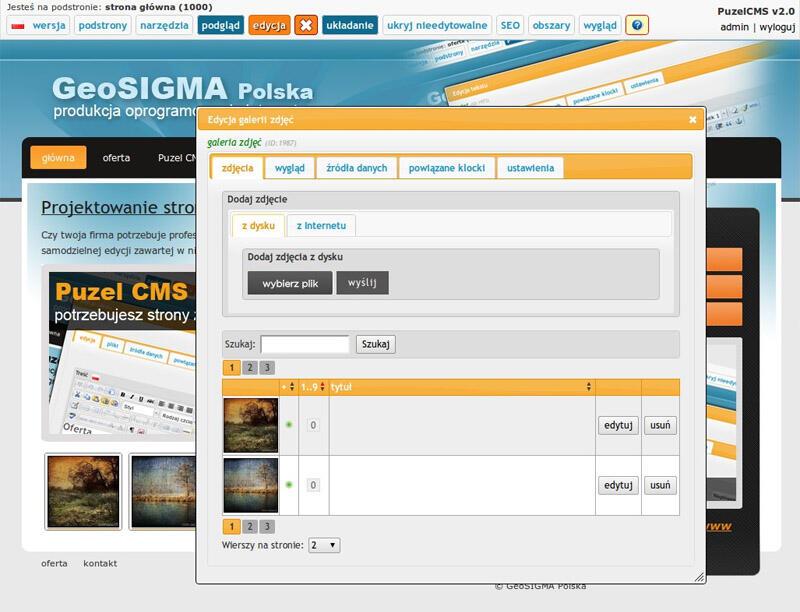 panel edycji galerii w systemie Puzel CMS - panel edycji galerii w systemie Puzel CMS
