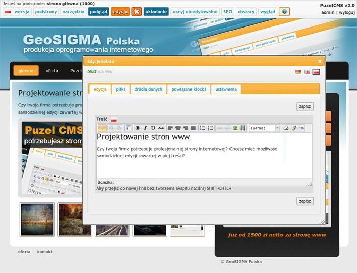 panel edycji tekstu systemie Puzel CMS - panel edycji tekstu systemie Puzel CMS