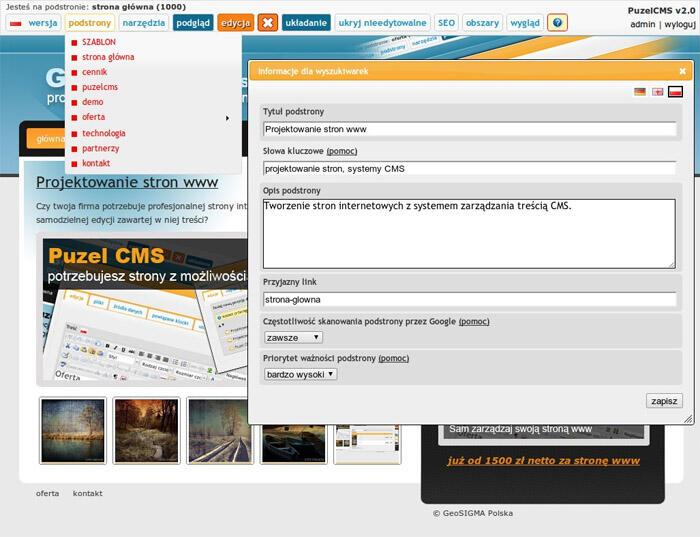 ustawienia SEO w systemie Puzel CMS - ustawienia SEO w systemie Puzel CMS